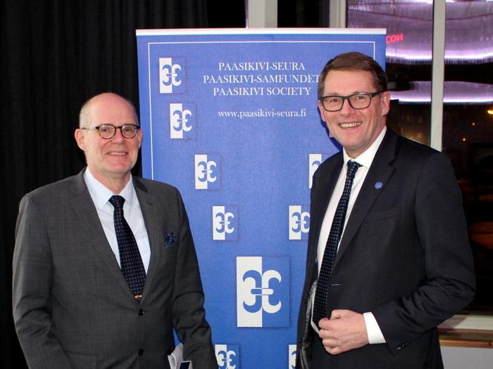 Kansliapäällikkö Jukka Juusti ja puheenjohtaja Matti Vanhanen Paasikivi-Seura 17.1.2017